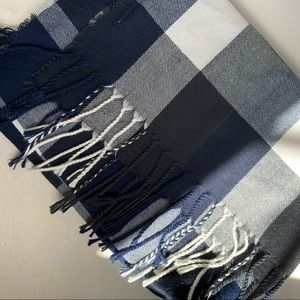 Plush Navy/ White/ Black/ Grey Checkered Scarf